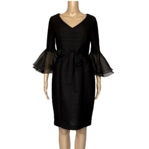 NUE by Shani jeweled organza bell sleeve dress